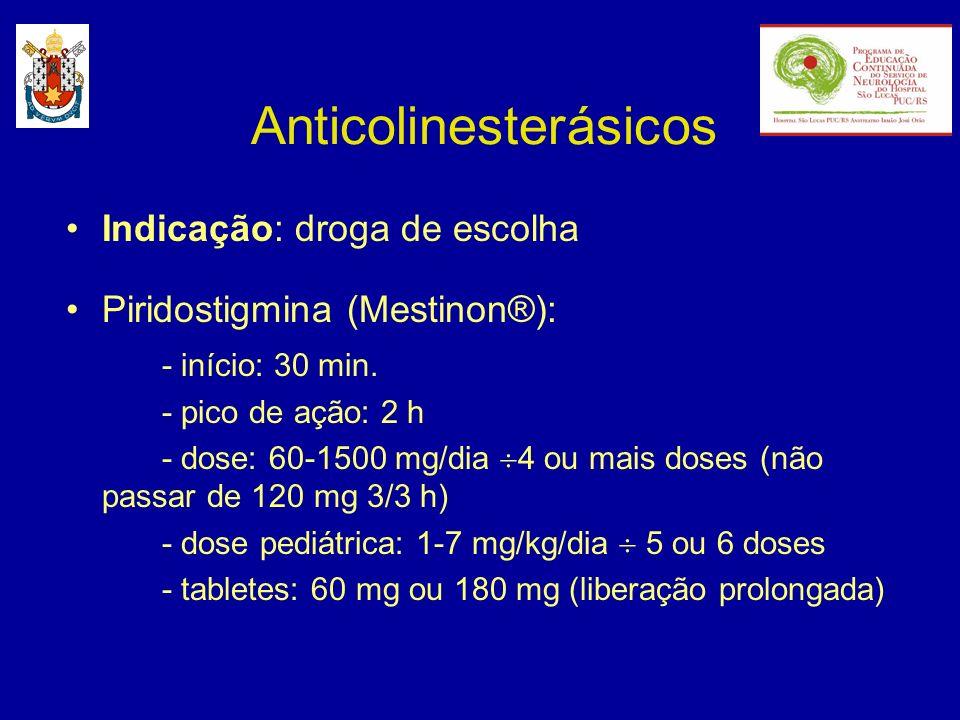 Anticolinesterásicos Indicação: droga de escolha Piridostigmina (Mestinon®): - início: 30 min. - pico de ação: 2 h - dose: 60-1500 mg/dia 4 ou mais do