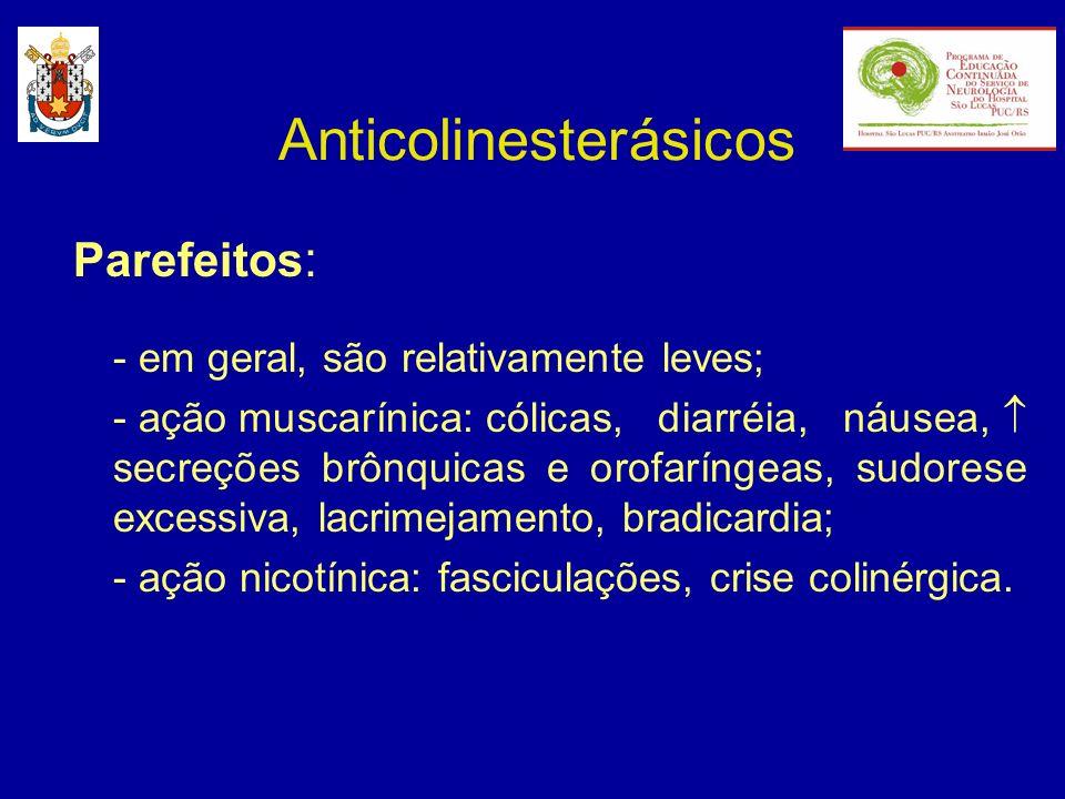 Anticolinesterásicos Parefeitos : - em geral, são relativamente leves; - ação muscarínica: cólicas, diarréia, náusea, secreções brônquicas e orofaríng