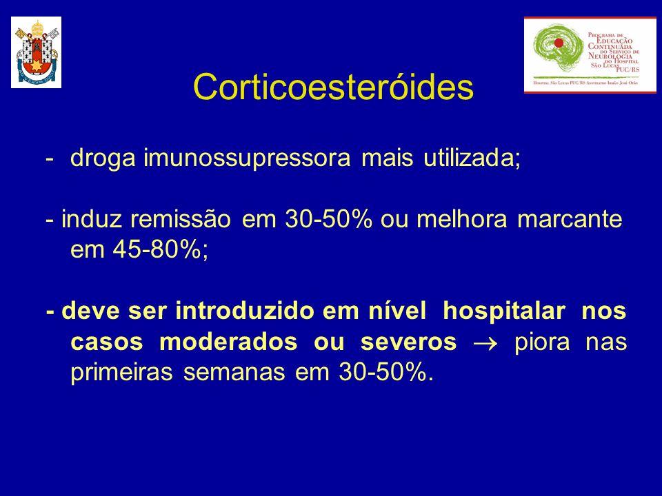 Corticoesteróides -droga imunossupressora mais utilizada; - induz remissão em 30-50% ou melhora marcante em 45-80%; - deve ser introduzido em nível ho