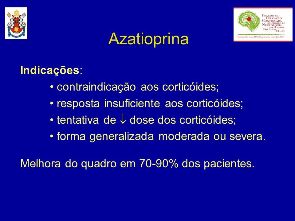 Azatioprina Indicações: contraindicação aos corticóides; resposta insuficiente aos corticóides; tentativa de dose dos corticóides; forma generalizada