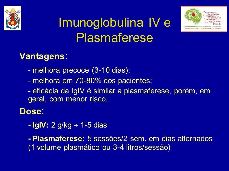 Imunoglobulina IV e Plasmaferese Vantagens : - melhora precoce (3-10 dias); - melhora em 70-80% dos pacientes; - eficácia da IgIV é similar a plasmafe