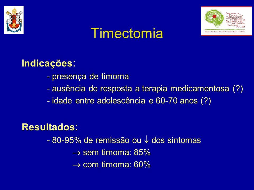 Timectomia Indicações : - presença de timoma - ausência de resposta a terapia medicamentosa (?) - idade entre adolescência e 60-70 anos (?) Resultados