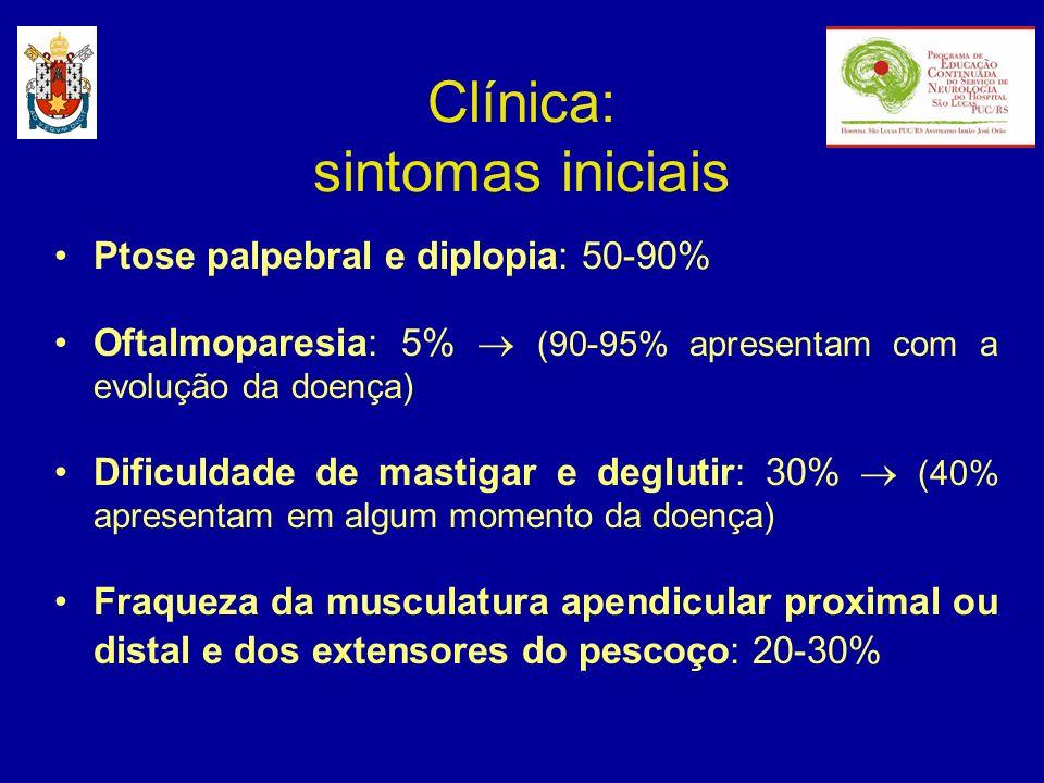 Clínica: sintomas iniciais Ptose palpebral e diplopia: 50-90% Oftalmoparesia: 5% (90-95% apresentam com a evolução da doença) Dificuldade de mastigar