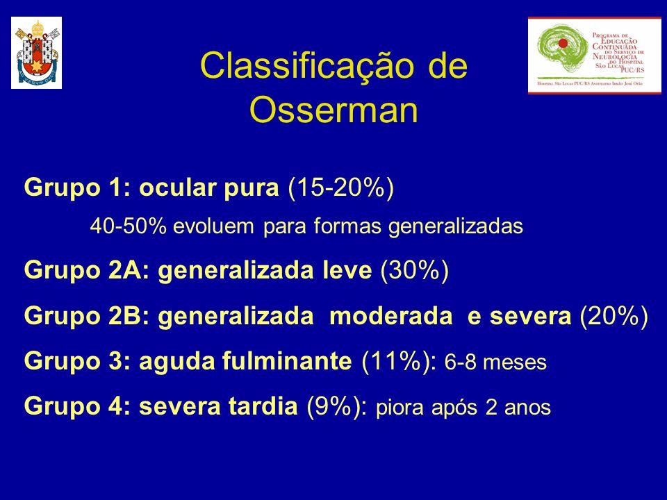 Classificação de Osserman Grupo 1: ocular pura (15-20%) 40-50% evoluem para formas generalizadas Grupo 2A: generalizada leve (30%) Grupo 2B: generaliz