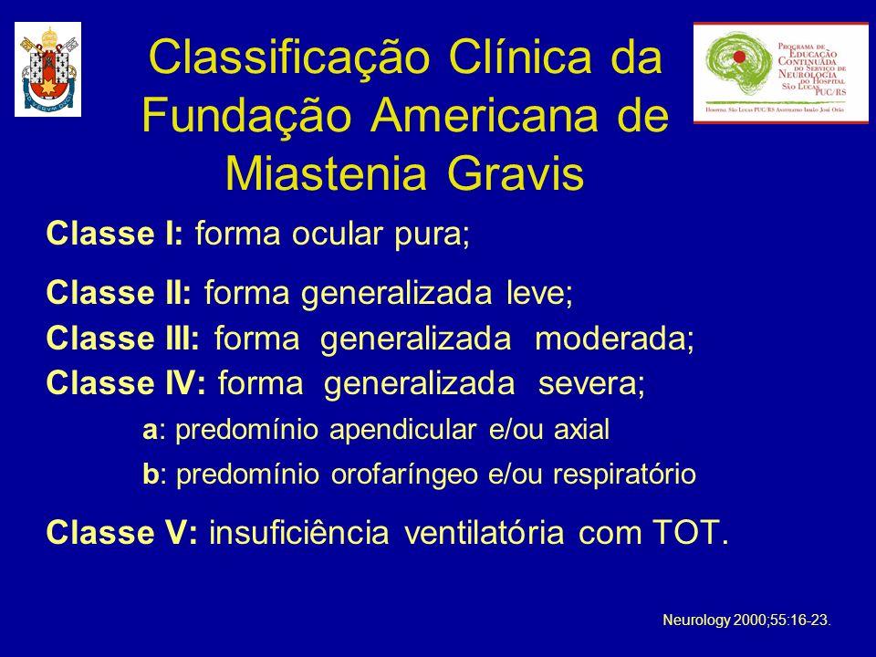 Classificação Clínica da Fundação Americana de Miastenia Gravis Classe I: forma ocular pura; Classe II: forma generalizada leve; Classe III: forma gen