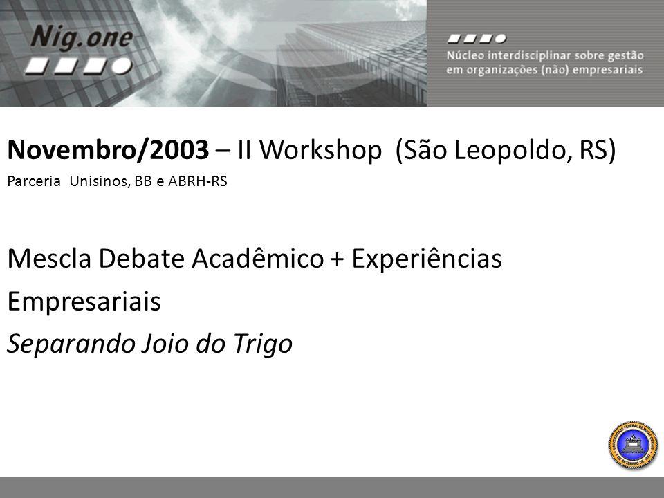 Novembro/2003 – II Workshop (São Leopoldo, RS) Parceria Unisinos, BB e ABRH-RS Mescla Debate Acadêmico + Experiências Empresariais Separando Joio do T