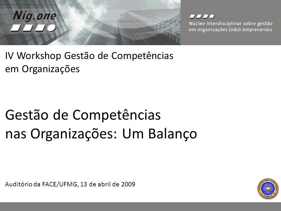 IV Workshop Gestão de Competências em Organizações Gestão de Competências nas Organizações: Um Balanço Auditório da FACE/UFMG, 13 de abril de 2009