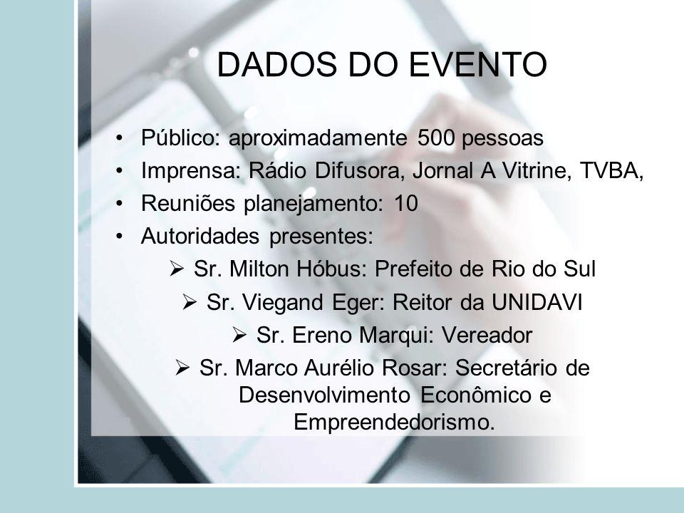 DADOS DO EVENTO Público: aproximadamente 500 pessoas Imprensa: Rádio Difusora, Jornal A Vitrine, TVBA, Reuniões planejamento: 10 Autoridades presentes: Sr.