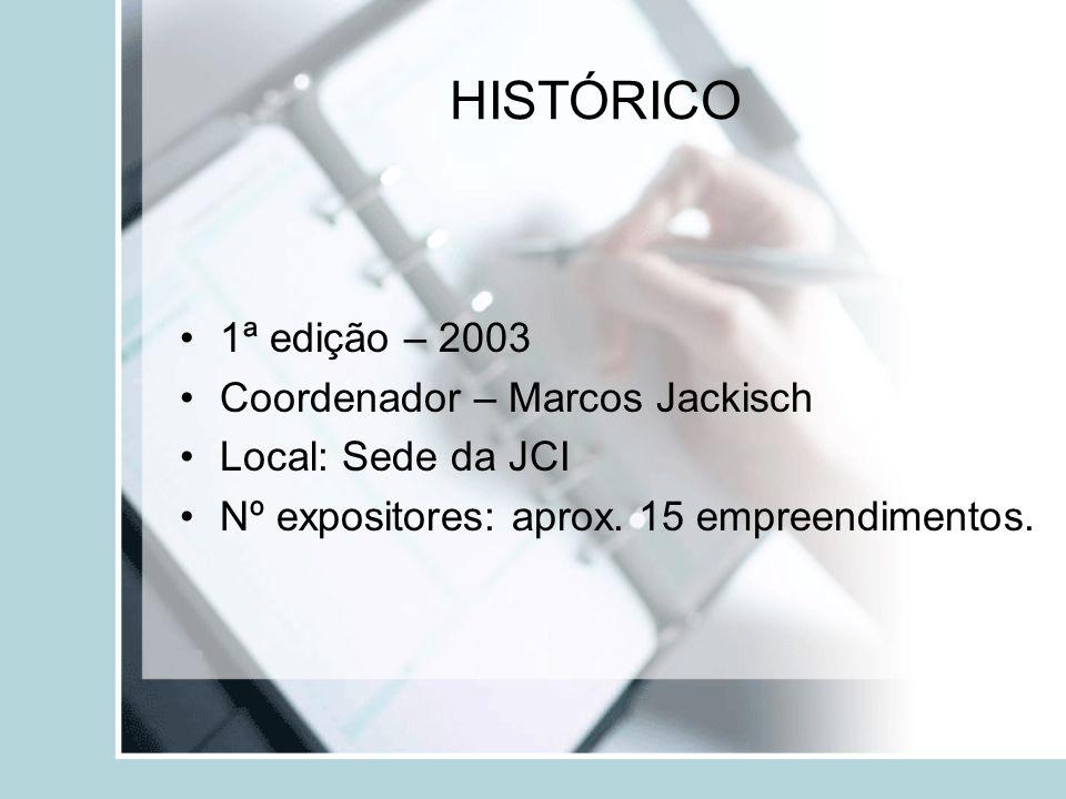 HISTÓRICO 1ª edição – 2003 Coordenador – Marcos Jackisch Local: Sede da JCI Nº expositores: aprox.