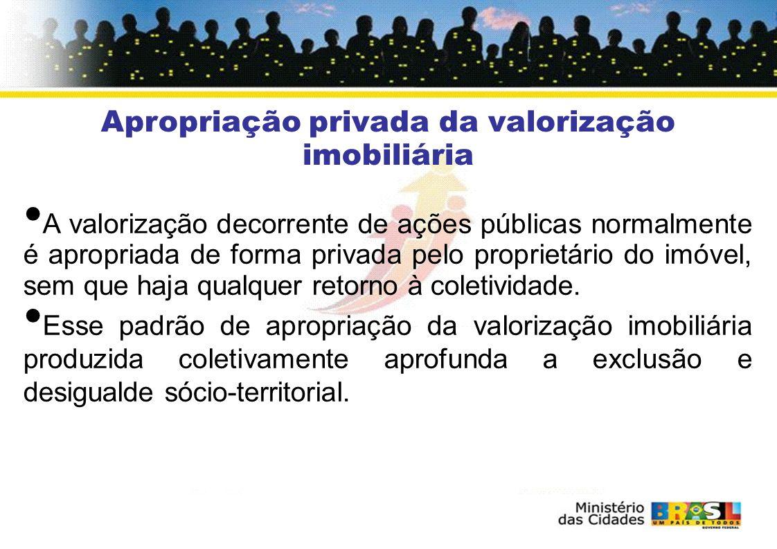Redistribuição da Valorização Fundiária Estatuto da Cidade Artigo 2º IX – justa distribuição dos benefícios e ônus decorrentes do processo de urbanização....