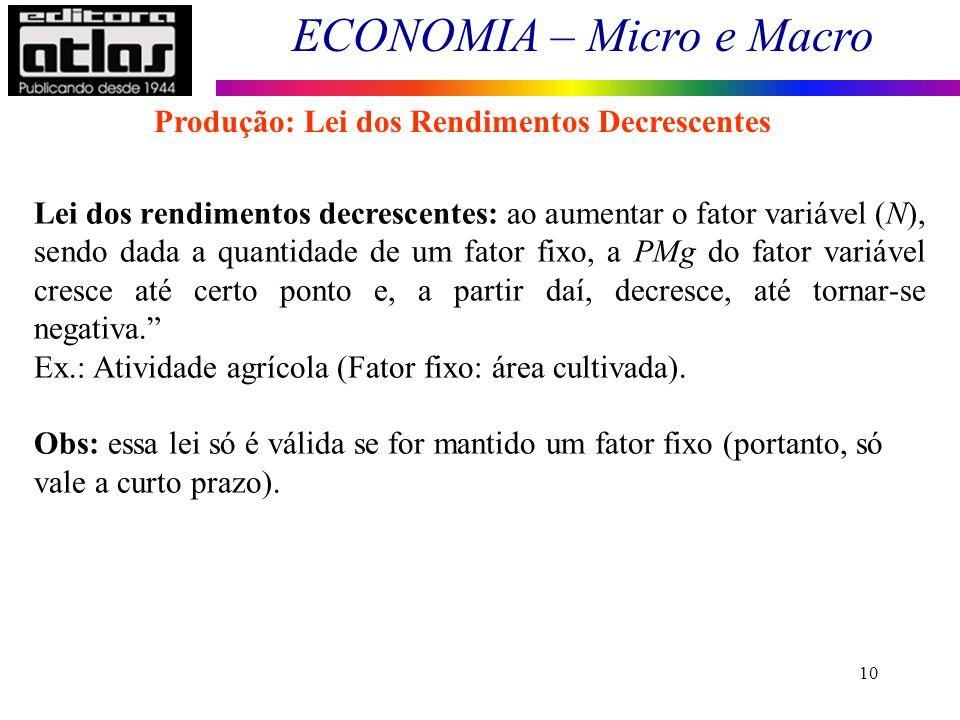 ECONOMIA – Micro e Macro 10 Lei dos rendimentos decrescentes: ao aumentar o fator variável (N), sendo dada a quantidade de um fator fixo, a PMg do fat