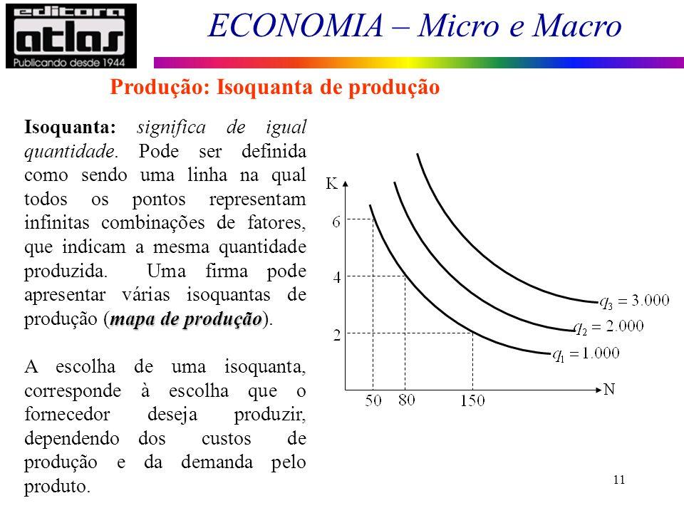 ECONOMIA – Micro e Macro 11 mapa de produção Isoquanta: significa de igual quantidade. Pode ser definida como sendo uma linha na qual todos os pontos