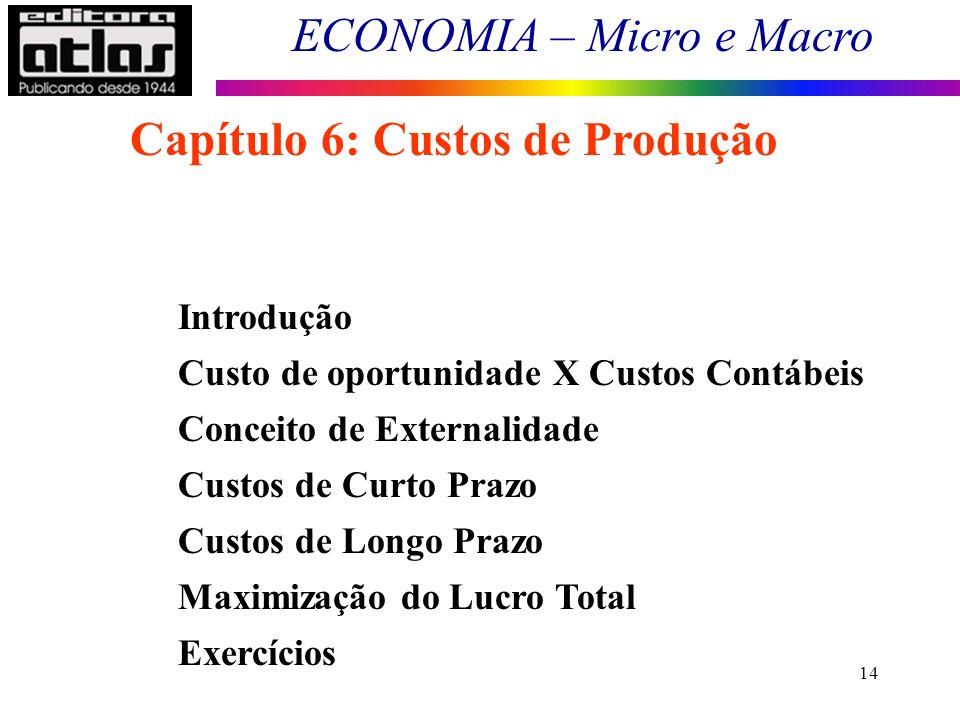 ECONOMIA – Micro e Macro 14 Capítulo 6: Custos de Produção Introdução Custo de oportunidade X Custos Contábeis Conceito de Externalidade Custos de Cur