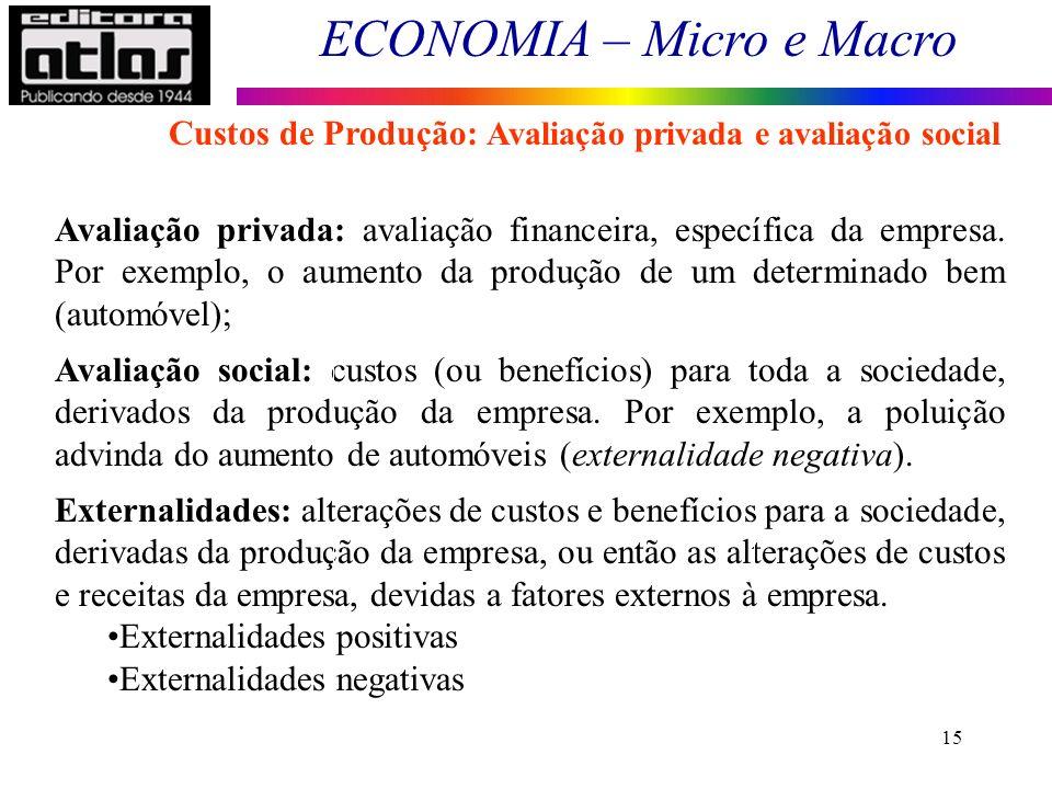 ECONOMIA – Micro e Macro 15 Avaliação privada: avaliação financeira, específica da empresa. Por exemplo, o aumento da produção de um determinado bem (