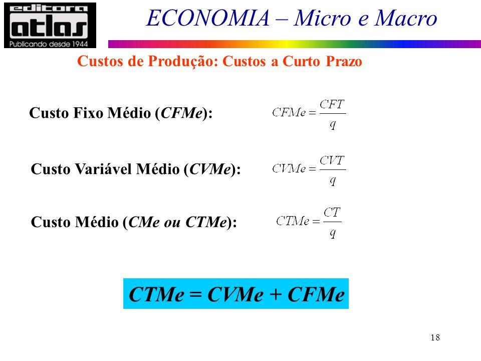 ECONOMIA – Micro e Macro 18 Custo Fixo Médio (CFMe): Custo Variável Médio (CVMe): Custo Médio (CMe ou CTMe): CTMe = CVMe + CFMe Custos de Produção: Cu