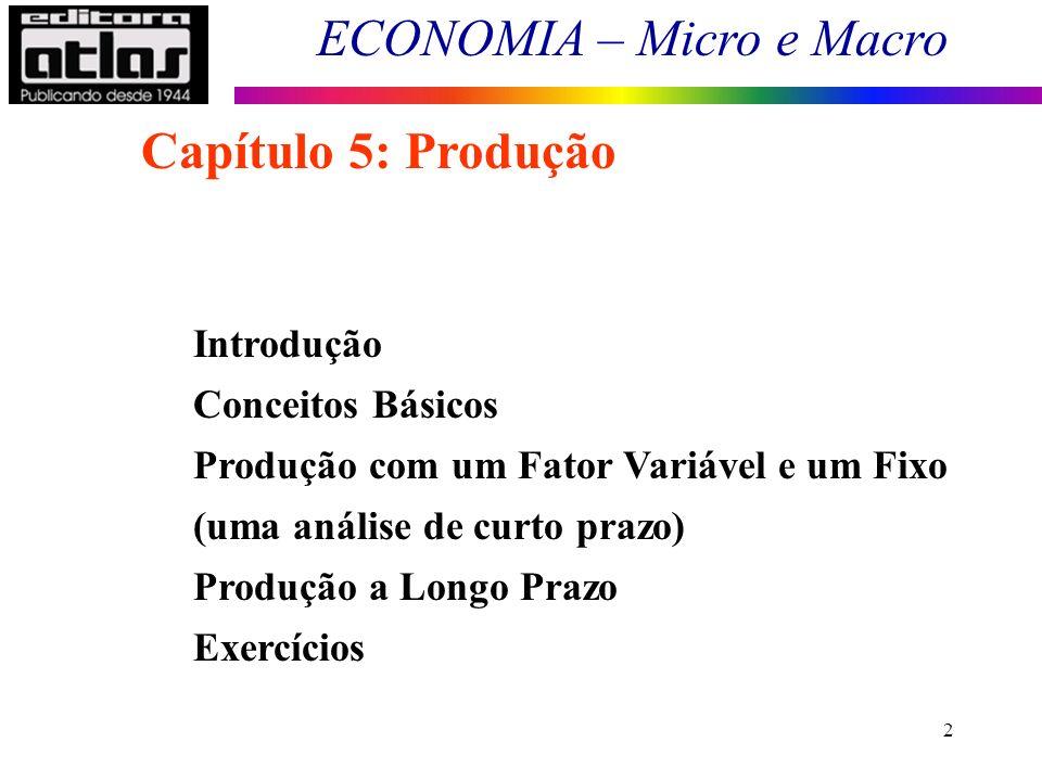 2 Introdução Conceitos Básicos Produção com um Fator Variável e um Fixo (uma análise de curto prazo) Produção a Longo Prazo Exercícios Capítulo 5: Pro