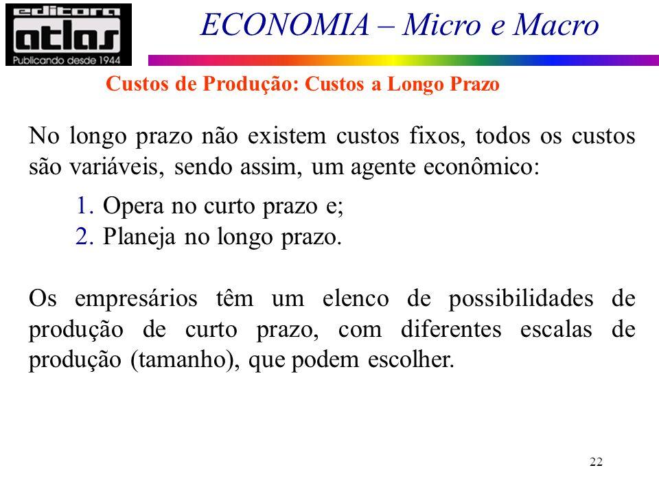 ECONOMIA – Micro e Macro 22 No longo prazo não existem custos fixos, todos os custos são variáveis, sendo assim, um agente econômico: 1.Opera no curto