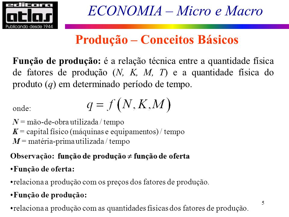 ECONOMIA – Micro e Macro 5 Função de produção: é a relação técnica entre a quantidade física de fatores de produção (N, K, M, T) e a quantidade física