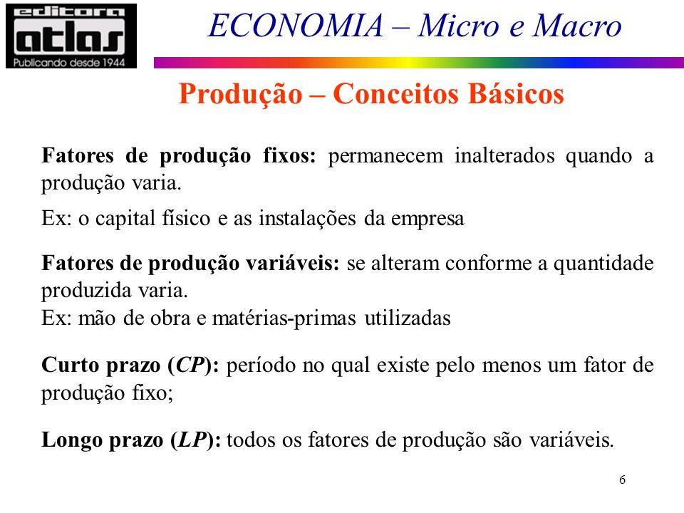 ECONOMIA – Micro e Macro 6 Fatores de produção fixos: permanecem inalterados quando a produção varia. Ex: o capital físico e as instalações da empresa