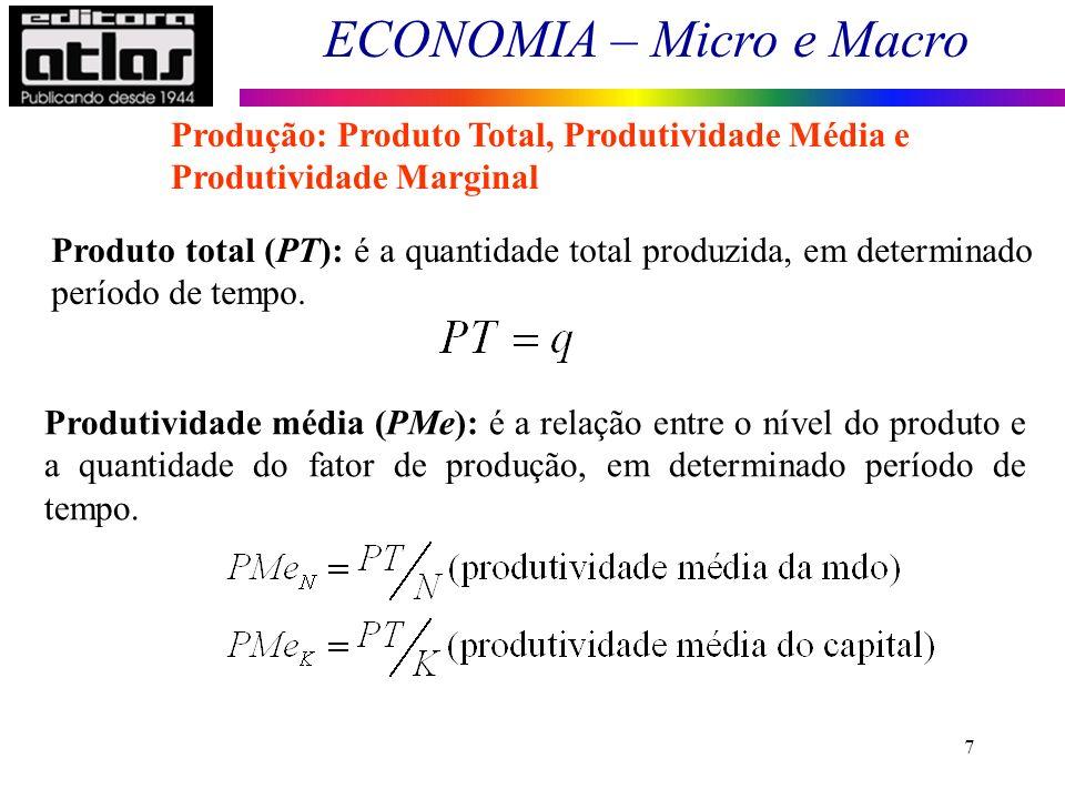 ECONOMIA – Micro e Macro 8 Produção: Produto Total, Produtividade Média e Produtividade Marginal Produtividade marginal (PMg): é a variação do produto, dada uma variação de uma unidade na quantidade de fator de produção, em determinado período de tempo.