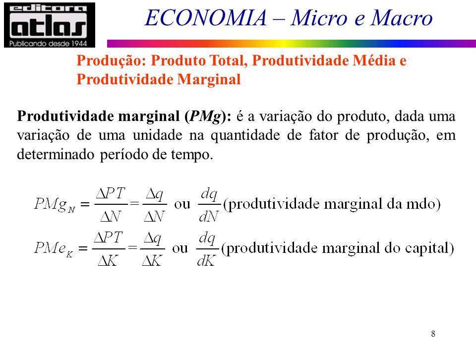 ECONOMIA – Micro e Macro 8 Produção: Produto Total, Produtividade Média e Produtividade Marginal Produtividade marginal (PMg): é a variação do produto