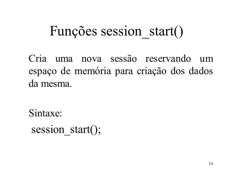 Funções session_start() Cria uma nova sessão reservando um espaço de memória para criação dos dados da mesma.