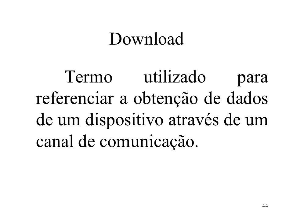 Download Termo utilizado para referenciar a obtenção de dados de um dispositivo através de um canal de comunicação.