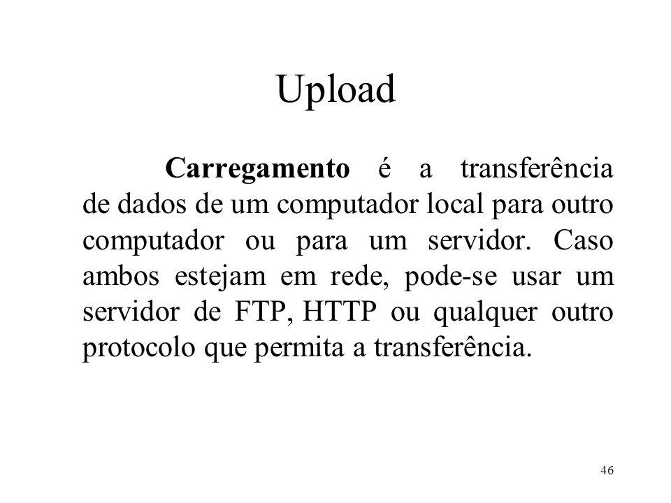 Upload Carregamento é a transferência de dados de um computador local para outro computador ou para um servidor.