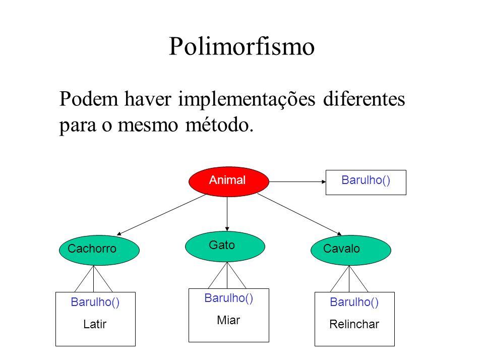 Polimorfismo Podem haver implementações diferentes para o mesmo método.