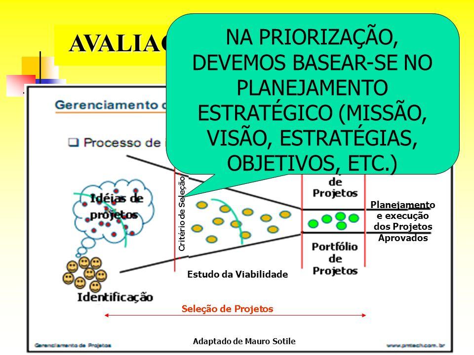 Adaptado de Mauro Sotile Estudo da Viabilidade Critério de Seleção Planejamento e execução dos Projetos Aprovados AVALIAÇÃO DE PROPOSTAS NA PRIORIZAÇÃ