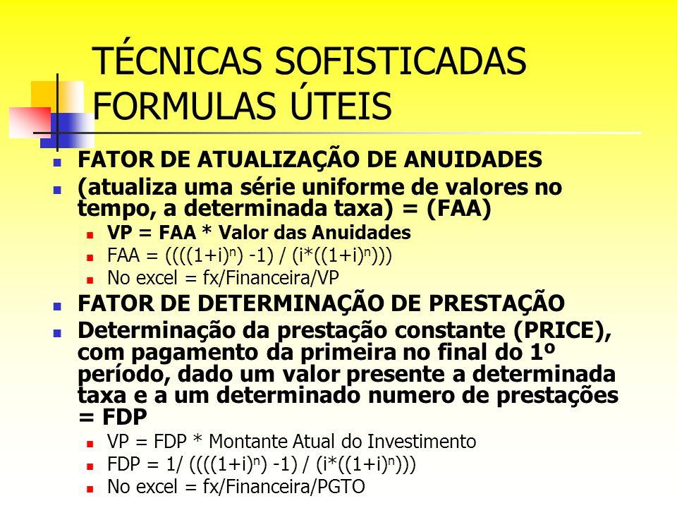 TÉCNICAS SOFISTICADAS FORMULAS ÚTEIS FATOR DE ATUALIZAÇÃO DE ANUIDADES (atualiza uma série uniforme de valores no tempo, a determinada taxa) = (FAA) V