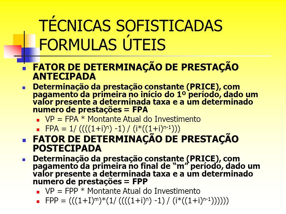TÉCNICAS SOFISTICADAS FORMULAS ÚTEIS FATOR DE DETERMINAÇÃO DE PRESTAÇÃO ANTECIPADA Determinação da prestação constante (PRICE), com pagamento da prime