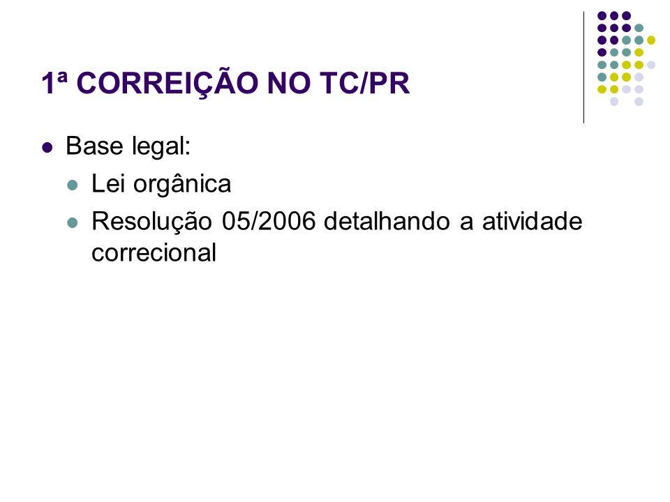 1ª CORREIÇÃO NO TC/PR Base legal: Lei orgânica Resolução 05/2006 detalhando a atividade correcional