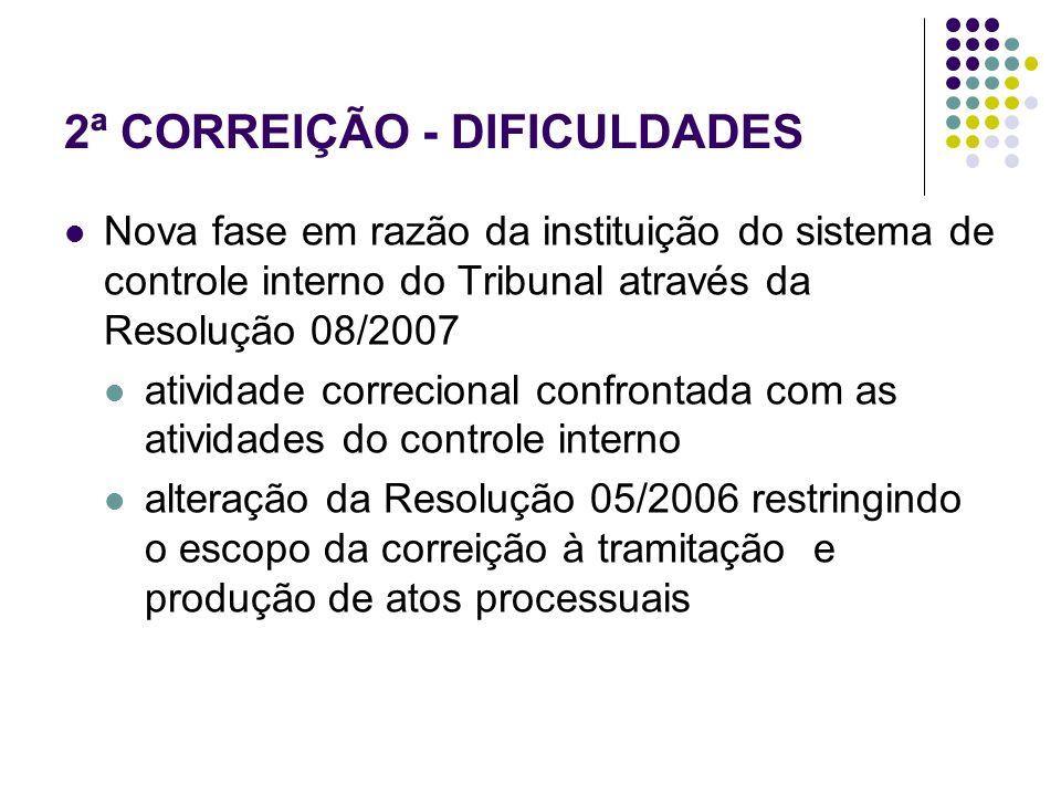 2ª CORREIÇÃO - DIFICULDADES Nova fase em razão da instituição do sistema de controle interno do Tribunal através da Resolução 08/2007 atividade correc