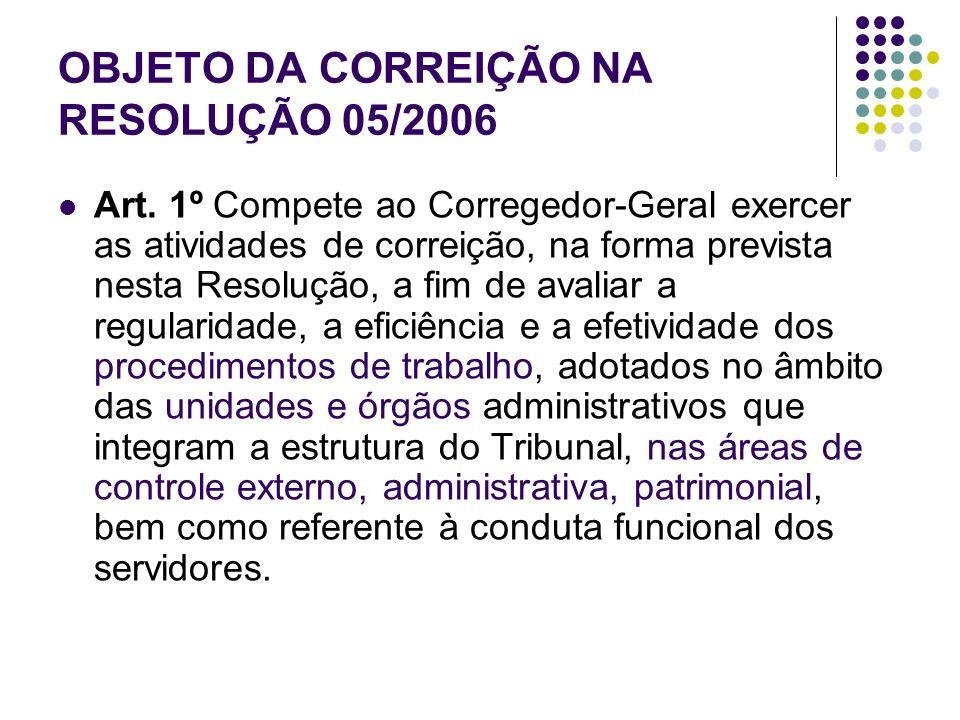 OBJETO DA CORREIÇÃO NA RESOLUÇÃO 05/2006 Art. 1º Compete ao Corregedor-Geral exercer as atividades de correição, na forma prevista nesta Resolução, a