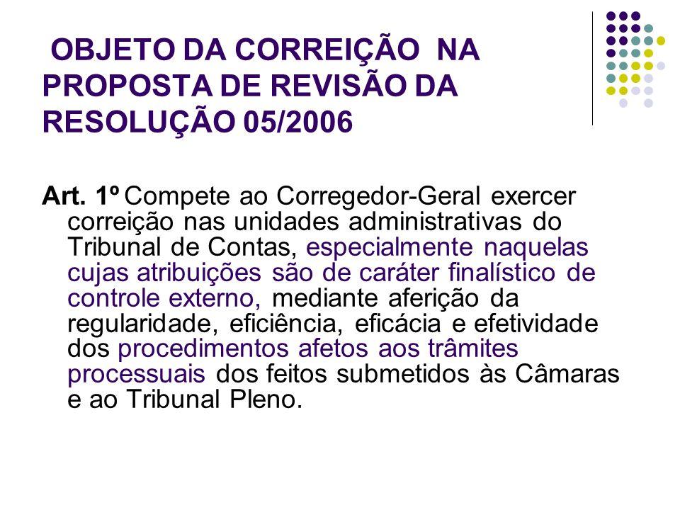 OBJETO DA CORREIÇÃO NA PROPOSTA DE REVISÃO DA RESOLUÇÃO 05/2006 Art. 1º Compete ao Corregedor-Geral exercer correição nas unidades administrativas do