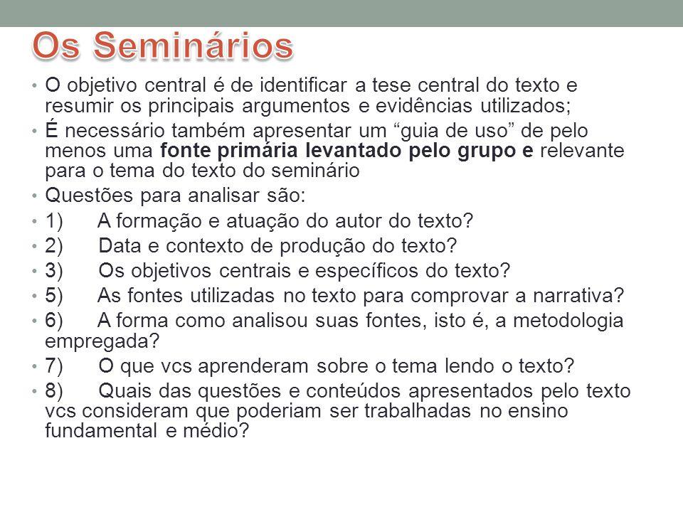 Os Seminários (1) Seminário 1: José Antonio SEGATTO.