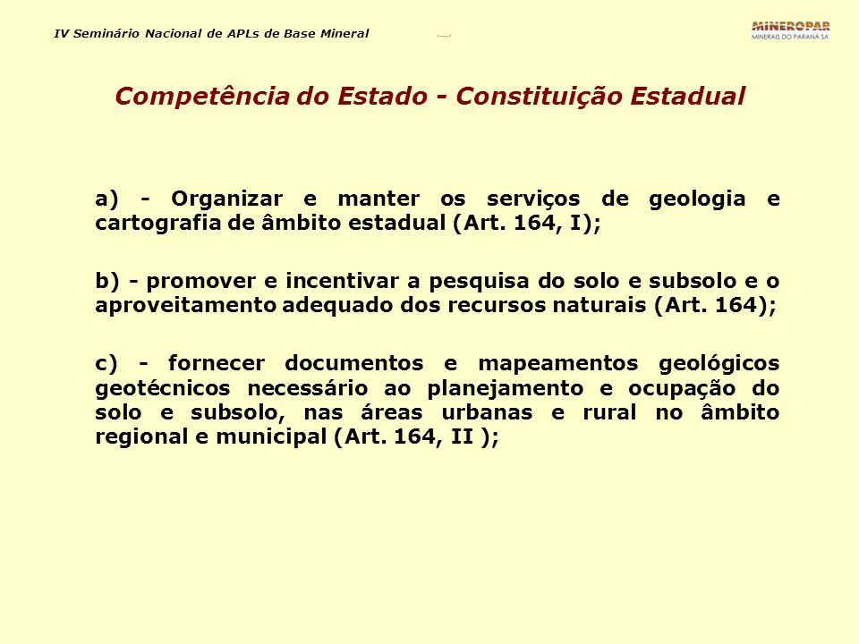 IV Seminário Nacional de APLs de Base Mineral Mineropar 2 a) - Organizar e manter os serviços de geologia e cartografia de âmbito estadual (Art. 164,