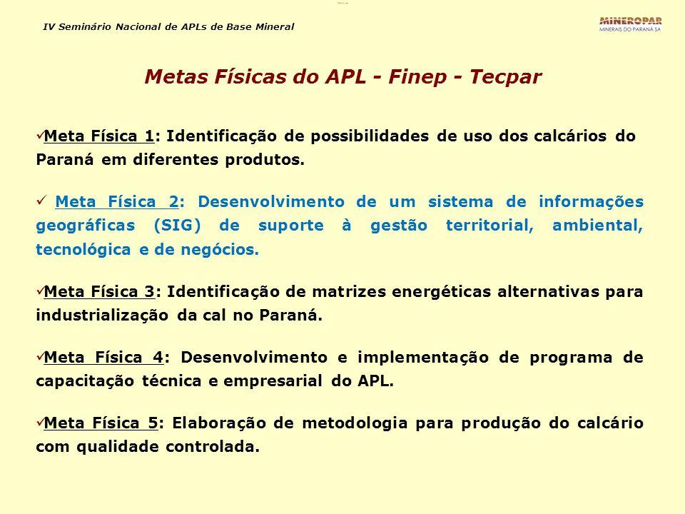 IV Seminário Nacional de APLs de Base Mineral Meta Física 1: Identificação de possibilidades de uso dos calcários do Paraná em diferentes produtos. Me