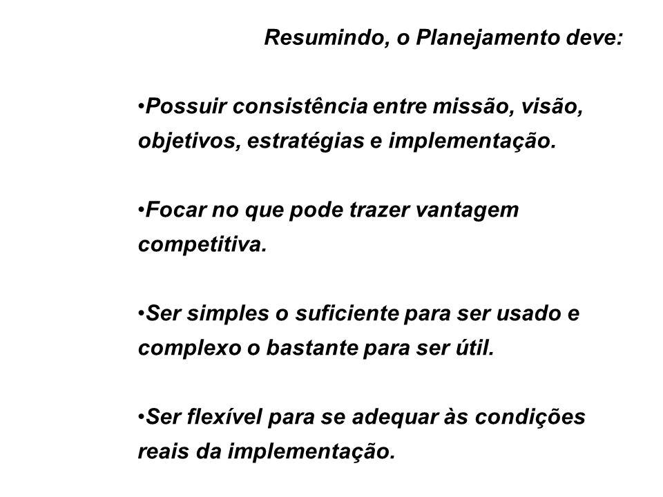 Resumindo, o Planejamento deve: Possuir consistência entre missão, visão, objetivos, estratégias e implementação. Focar no que pode trazer vantagem co