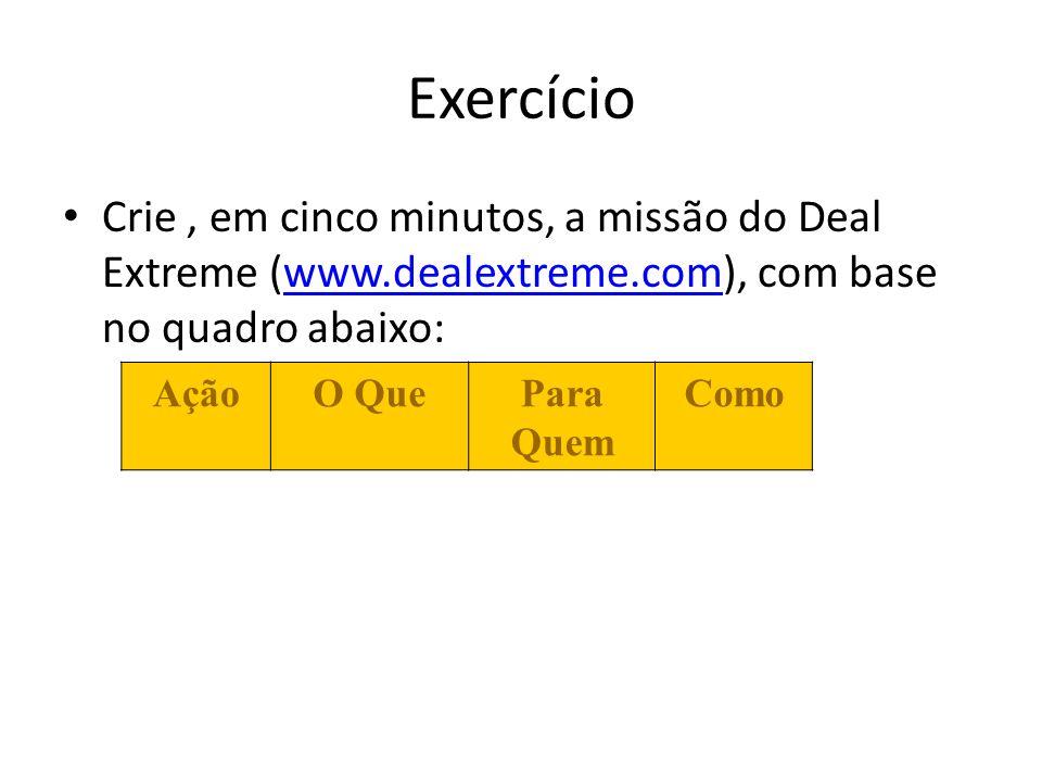 Exercício Crie, em cinco minutos, a missão do Deal Extreme (www.dealextreme.com), com base no quadro abaixo:www.dealextreme.com AçãoO QuePara Quem Com