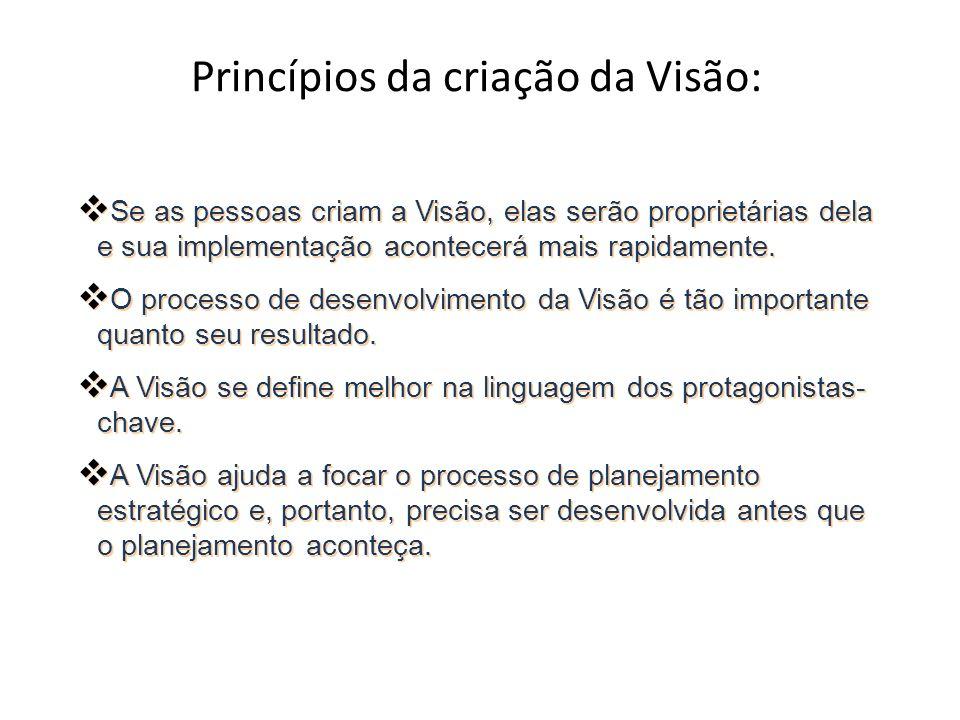 Princípios da criação da Visão: Se as pessoas criam a Visão, elas serão proprietárias dela e sua implementação acontecerá mais rapidamente. O processo