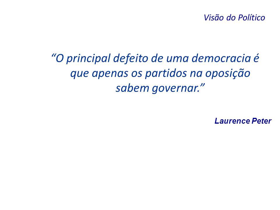 Laurence Peter O principal defeito de uma democracia é que apenas os partidos na oposição sabem governar. Visão do Político
