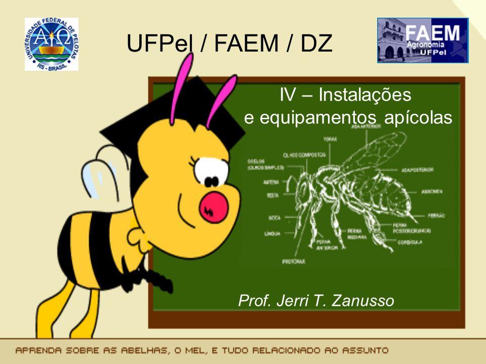 Instalações e equipamentos - Local de instalação do apiário - Instalações de processamento (casa do mel e Entreposto de mel e cêra) - Equipamentos: Para o apiário Para processamento