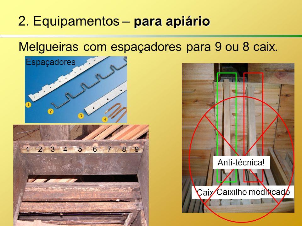 para apiário 2. Equipamentos – para apiário Melgueiras com espaçadores para 9 ou 8 caix. Caixilho padrão Caixilho modificado Espaçadores Anti-técnica!