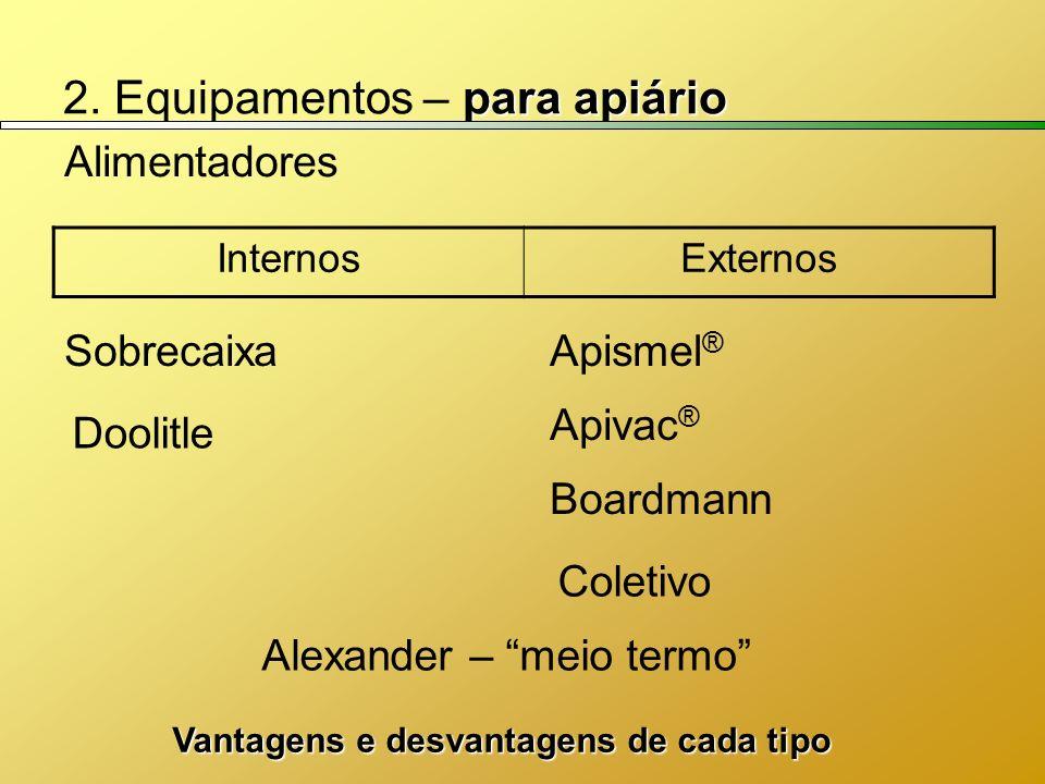 para apiário 2. Equipamentos – para apiário Alimentadores Boardmann Doolitle Coletivo Apivac ® Apismel ® Alexander – meio termo Sobrecaixa InternosExt
