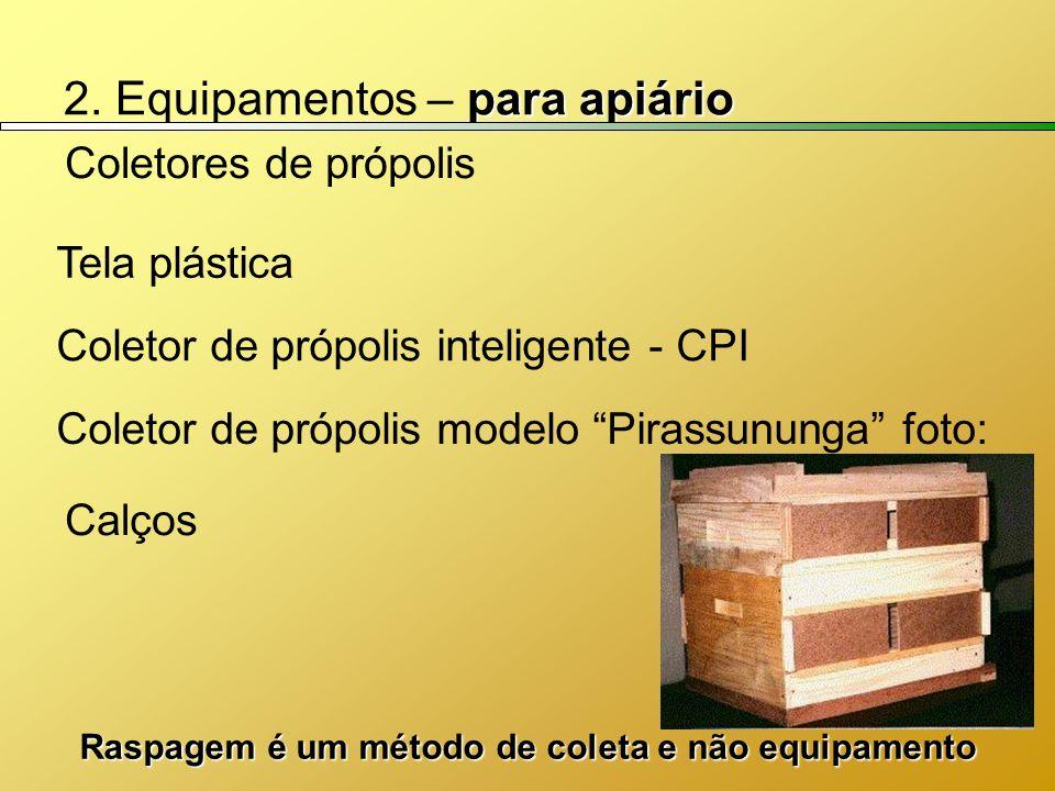 para apiário 2. Equipamentos – para apiário Coletores de própolis Coletor de própolis inteligente - CPI Calços Coletor de própolis modelo Pirassununga