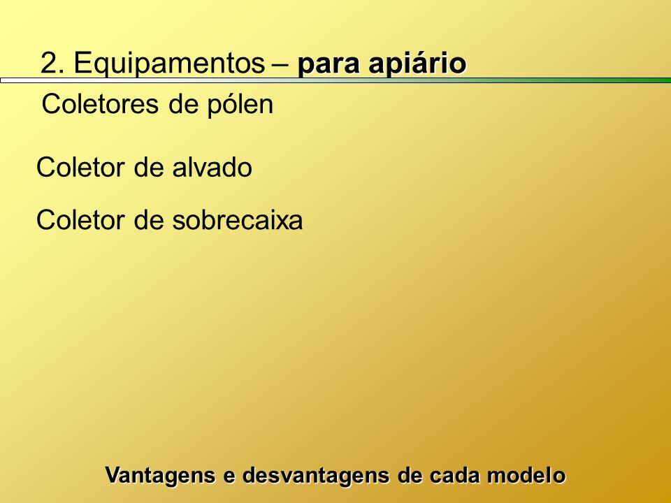 para apiário 2. Equipamentos – para apiário Coletores de pólen Coletor de sobrecaixa Coletor de alvado Vantagens e desvantagens de cada modelo