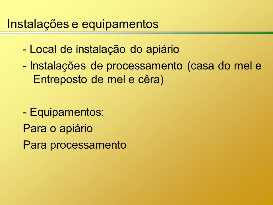 Instalações e equipamentos - Local de instalação do apiário - Instalações de processamento (casa do mel e Entreposto de mel e cêra) - Equipamentos: Pa