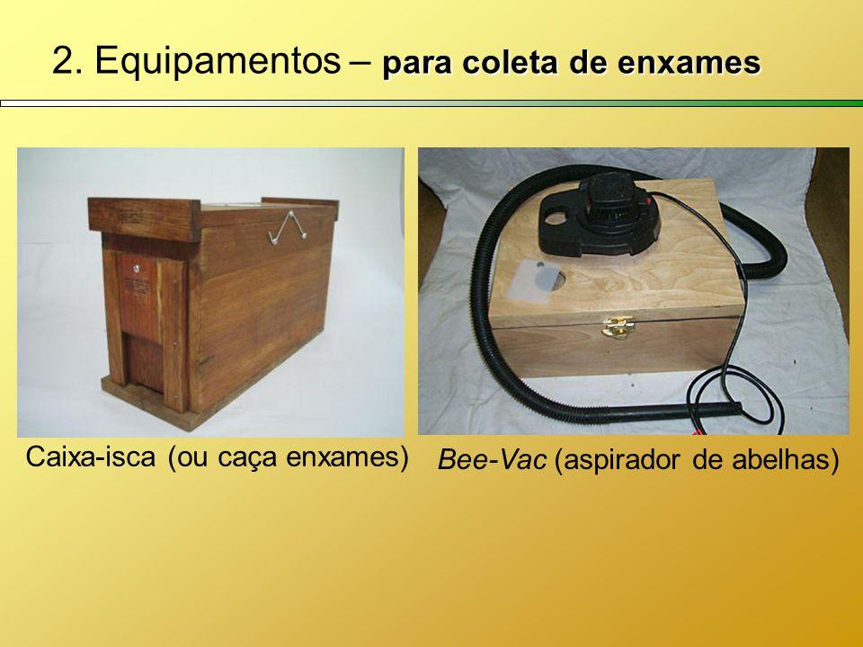 para coleta de enxames 2. Equipamentos – para coleta de enxames Caixa-isca (ou caça enxames) Bee-Vac (aspirador de abelhas)